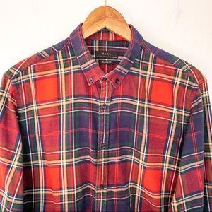 Zara Man Size L Shirt Plaid Flannel Madras Tartan